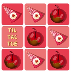 Tic-Tac-Toe of chocolate covered cherry and straw vector image