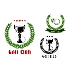 Golf club heraldic emblems and icons vector