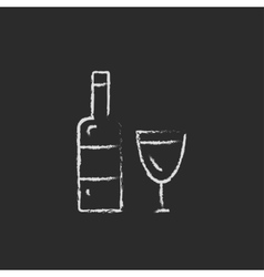 Bottle and a glass icon drawn in chalk vector