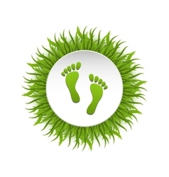 Eco friendly footprints on green grass vector