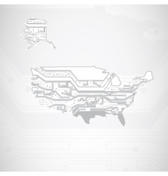 USA Map circuit board background vector image