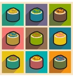 Flat with shadow concept bright sushi with caviar vector