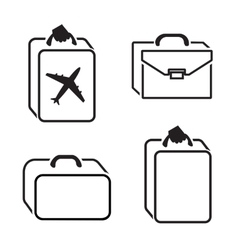 Baggage icon set hand luggage for traveling vector