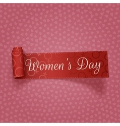 Womens day red scroll realistic ribbon vector