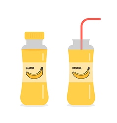 Banana juice nectar smoothie in bottles vector