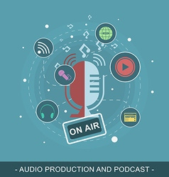 Audio production and podcast editable flat design vector