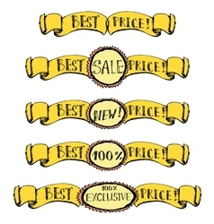 Best price- set of badge label ribbon doodle vector image