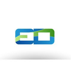 Blue green ed e d alphabet letter logo vector