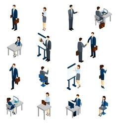 Business People Isometric Set vector image vector image
