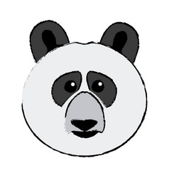 Cute face panda bear animal asia wildlife vector