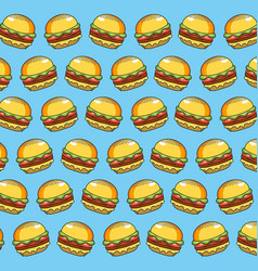 Delicious hamburger fast food meal background vector