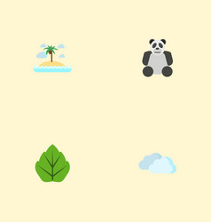 flat icons isle beach bear foliage and other vector image