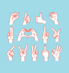 gesture set stulized hands showing different vector image