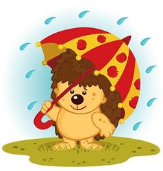 Hedgehog with umbrella in rain vector