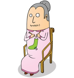 Knitting grandma vector