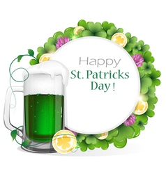 Leprechaun green beer with coins and clover vector image vector image