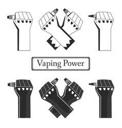 Monochrome vape power fists vector