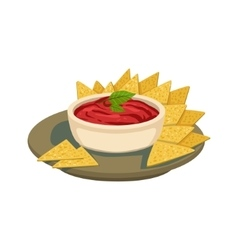 Nachos Chips With Tomato Salsa Traditional Mexican vector image
