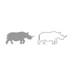 rhinoceros icon grey set vector image vector image