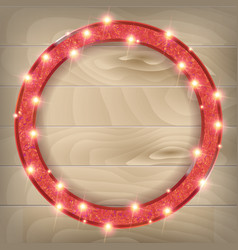 Round red frame on a wooden background vector