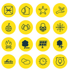 Set of 16 ecology icons includes cigarette sun vector