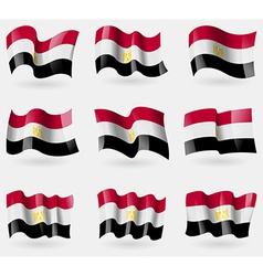Set of Egypt flags in the air vector image