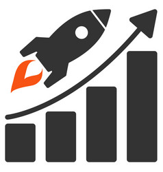 startup rocket growth chart flat icon vector image vector image