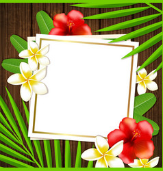 tropical frame with flowers vector image vector image