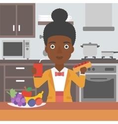 Woman with fast food vector
