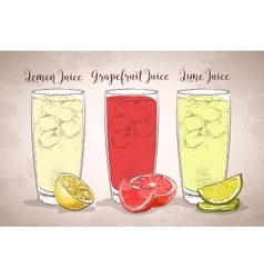 Glasses of juices on a retro background vector