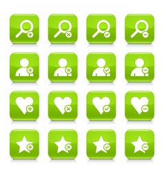 Green additional sign square icon web button vector