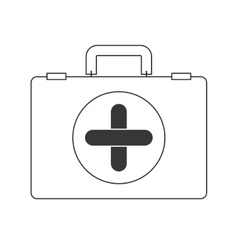 Contour silhouette with first aid kit vector