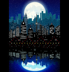 Silhouette of city and night sky with reflection vector