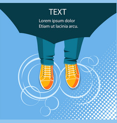 Rain backgroundtop view of feet in sport boots vector