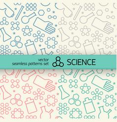 Chemistry seamless patterns set vector