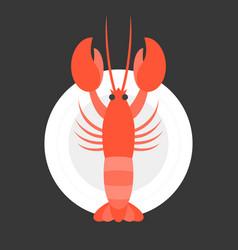 Lobster in dish vector