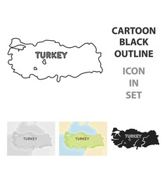 Territory of turkey icon in cartoon style isolated vector