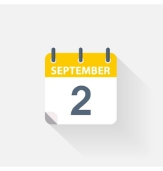 2 september calendar icon vector