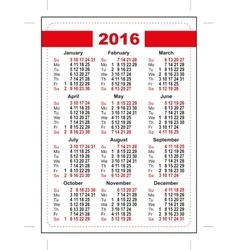 2016 pocket calendar first day sunday vertical vector