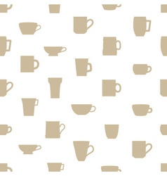 Mugs and cups simple silhouette icons pattern vector