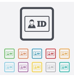 Id card sign icon identity card badge symbol vector