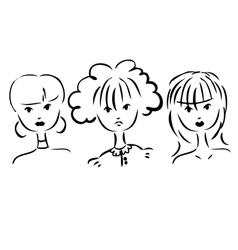 set of portraits of women Simple drawing vector image