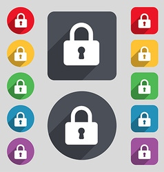 Pad lock icon sign a set of 12 colored buttons and vector