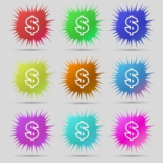 Dollar icon sign a set of nine original needle vector