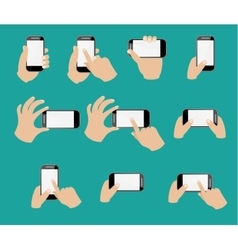 Set of hand holding smart phone vector