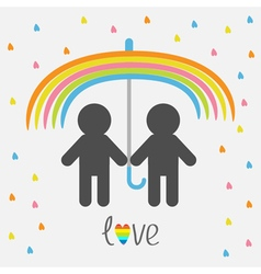 Rainbow umbrella heart rain gay marriage pride vector