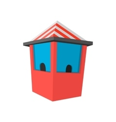 Red ticket booth cartoon icon vector