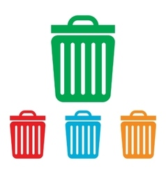 Trash sign colorfull set vector