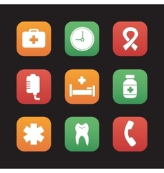 Hospital flat design icons set vector