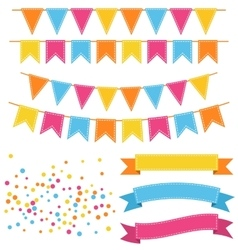 Set of multicolored buntings garlands flags vector